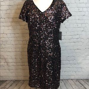 Vince Camuto Multicolored Sequin Dress Sweet Coral